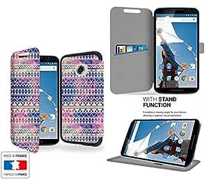 Aztec Tribal Galaxy Collection Pattern Funda de Cuero para Google Nexus 6 Flip Case Cover (Estuche) PU Cuero - Funcion de Soporte / Billetera con Tapa para Tarjetas- Accesorios Case Industry Protector