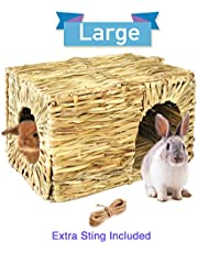 Extra Large Grass House for Rabbits, Guinea Pigs and Small Animals; Chewable and Edible Natural Grass Hideaway; Foldable Toy Hut with Openings; Safe and Comfortable Playhouse for Play and Sleep