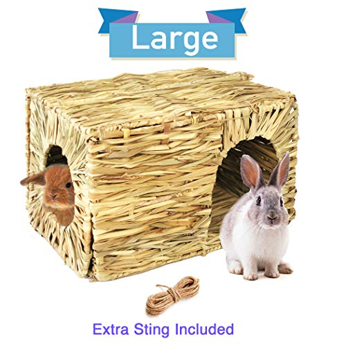 Hand Crafted Extra Large Grass House for Rabbits, Guinea Pigs and Small Animals; Edible Natural Grass Hideaway; Foldable Toy Hut with Openings; Safe and Comfortable Playhouse for Play and Sleep