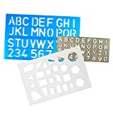 Letter, Number & Shapes Stencil Set, Plastic Lettering and Geometric Template