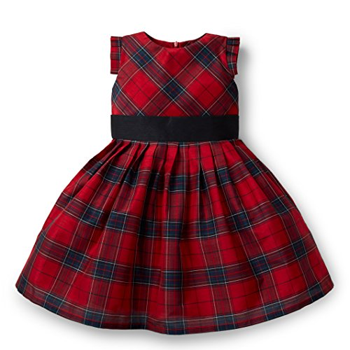 Girls Plaid Dress (Hope & Henry Girls' Red Plaid Taffeta Knit Pleat Dress, 6-7)