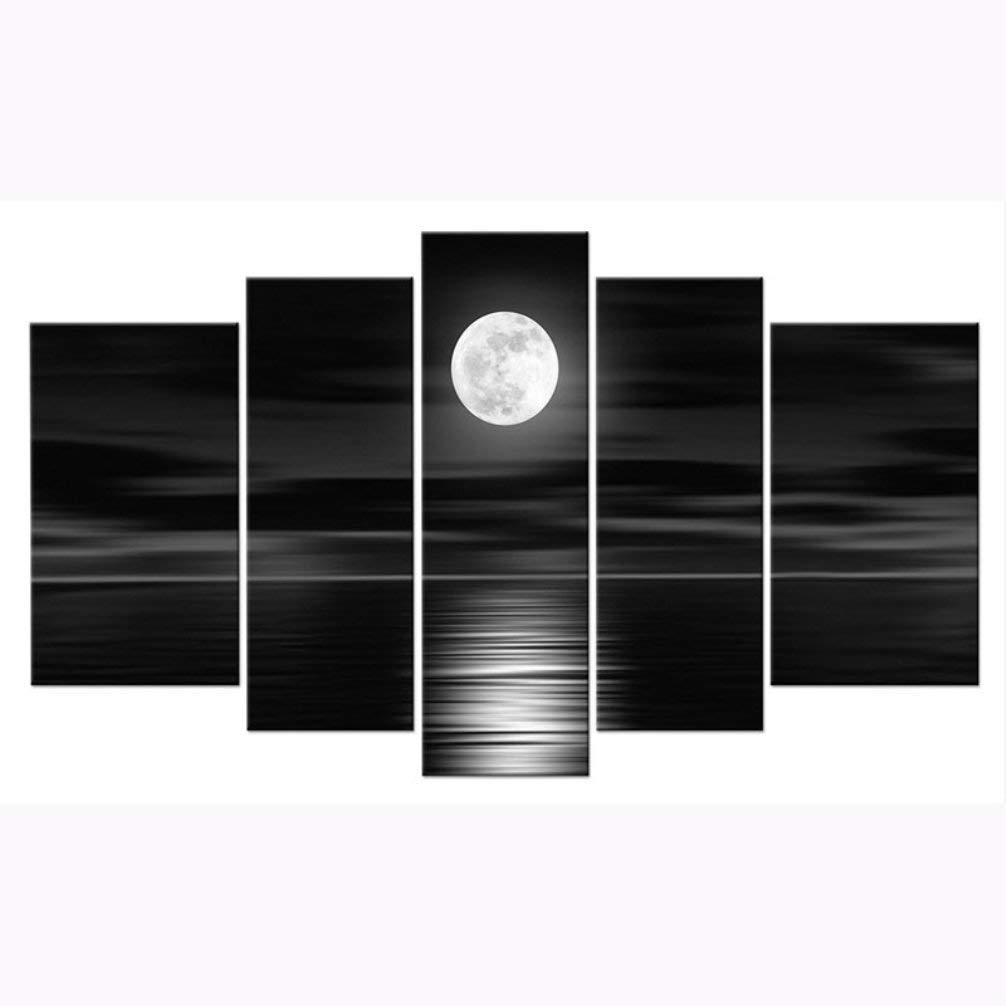 BE GOOD 5 Panel Wall Art Set Peace Sea and White Full Moon Night Contemporary Oil Painting Canvas Prints Modern Home Decoration for Living Room Bedroom or Hotel Office Decor Gift Piece
