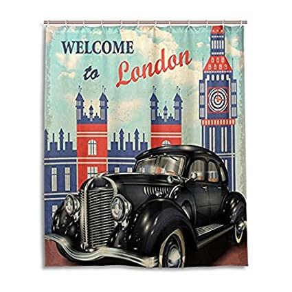 DENGYUE Old Jalopy Car Shower Curtain Shining Prestige Black Vintage In London Street Alongside