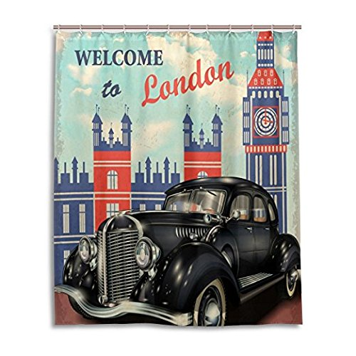 DENGYUE Old Jalopy Car Shower Curtain, Shining Prestige Black Vintage Car in London Street alongside London Tower Old Style 1960s Daily Decorative Bathroom Curtain (Chocolate Coral Tree)