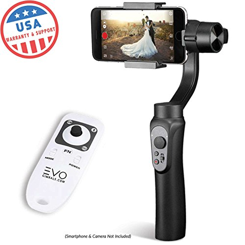 EVO SHIFT 3 Axis Handheld Gimbal for iPhone & Android Smartphones | Black | 1 Year US Warranty | Bundle Includes: EVO Shift Gimbal + EVO Wireless Remote (Gen1)