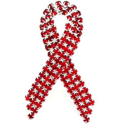 Aids Awareness Ribbon (PinMart Red Rhinestone Crystal Awareness Ribbon Brooch Lapel)