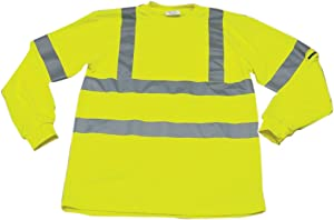 """Ironwear 1204FR-L-TP-3-LG ANSI Class 3 Flame Retardant Polyester Long Sleeve Crew Neck SAFETY Shirt with Pocket & 2"""" Silver Reflective Tape, Lime, Large"""