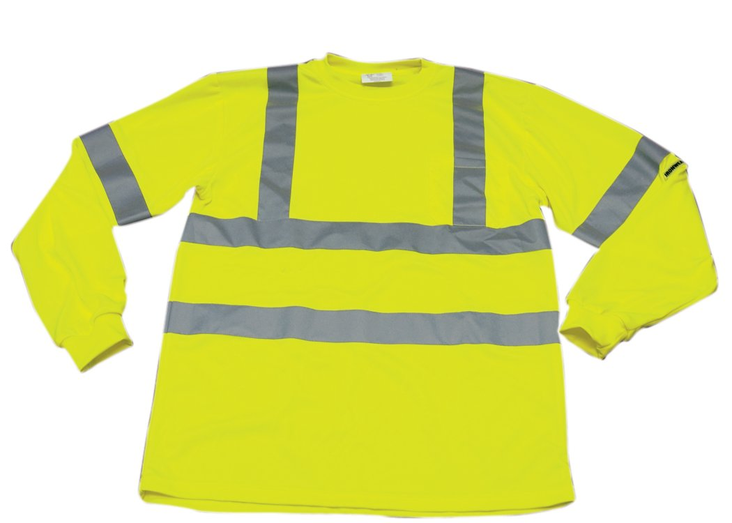 Ironwear 1204-L-TP-9-6XL ANSI Class 3 Polyester Long Sleeve Crew Neck SAFETY Shirt with Pocket & 2'' Silver Reflective Tape, Lime, 6X-Large