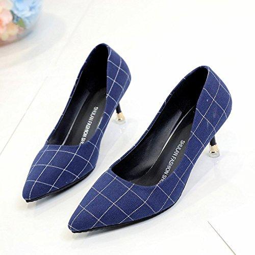 solo tacón los chica fina punta de Qiqi luz Xue zapatos wild de zapatos la azul de 38 con alto pajarita A la 8UOng4