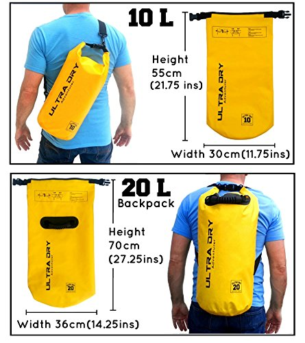 Ultra Dry Premium 20L Waterproof Bag, Sack with phone dry bag and Long Adjustable Shoulder Strap Included (yellow, 20 L)