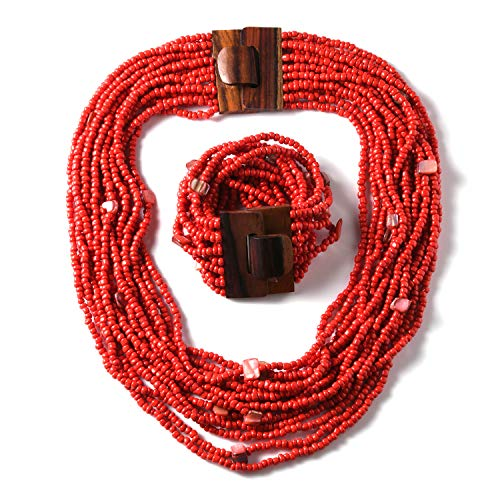 - Red Seed Bead Shell Wooden Buckle Bracelet and Multi Strand Necklace Set Jewelry for Women Size 18