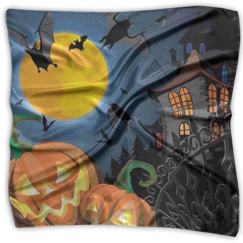 Bandana Head and Neck Tie Neckerchief,Gothic Halloween Haunted House Party Theme Design Trick Or Treat Motifs Print,Headband
