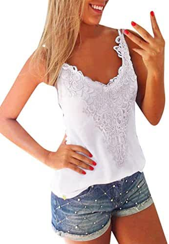 ZANZEA Sexy Women Summer Lace Vest T Shirt Tees Casual Blouse Camis Tank Tops