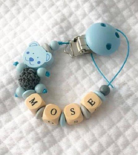 Catenella portaciuccio   con nome personalizzabile   blu   soothie pacifier clip