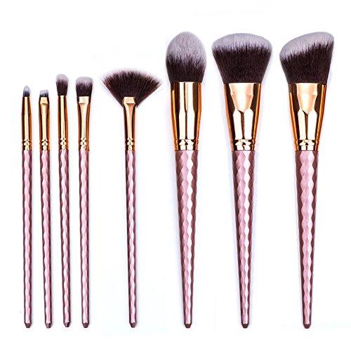 Micup Diamond Shape 8pcs Makeup Brush Set High Light Contour Concealer Blending Cosmetic - Faces Diamond Shape