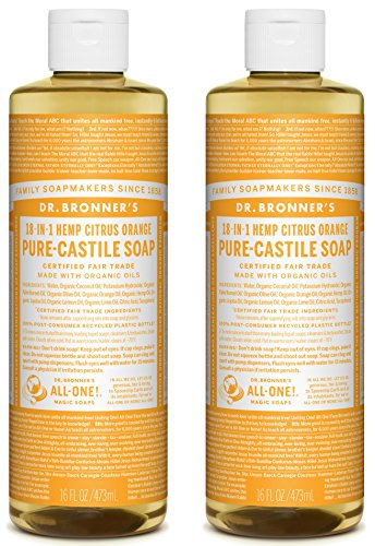 Dr. Bronner's Pure-Castile Liquid Soap, Citrus Scent, 16oz. (2 Pack)