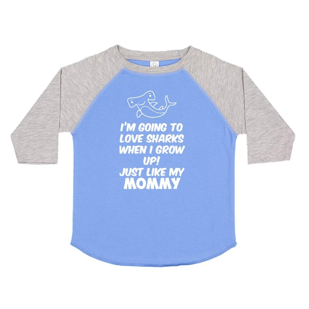 Toddler//Kids Raglan T-Shirt Just Like My Mommy Im Going to Love Sharks When I Grow Up