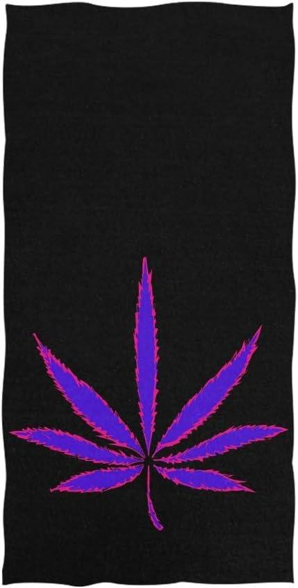 Not Applicable Microfibra Toallas De Ducha,Secado Rápido Toallas De Baño,Hoja De Marihuana Púrpura Neón Cannabis En Negro Toalla De Playa Suave para Viajes Natación Yoga Camping 80X130CM