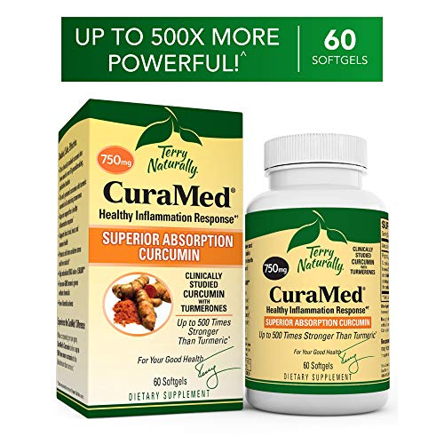 Terry Naturally CuraMed 750 mg - 60 Softgels - Superior Absorption BCM-95 Curcumin Supplement, Promotes Healthy Inflammation Response - Non-GMO, Gluten-Free, Halal - 60 Servings ()
