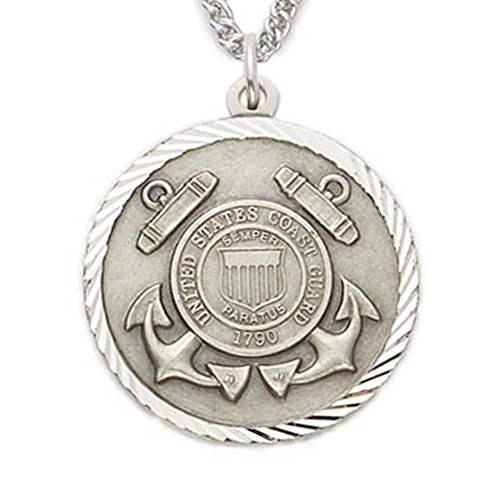 Sterling Silver United States Coast Guard Medal with Saint Michael Back, 1 (Coast Guard Medal)
