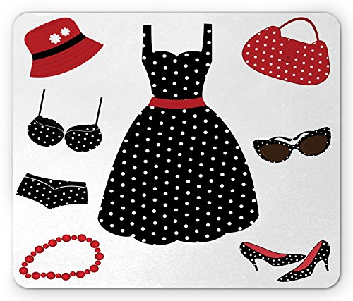 1950s Mouse Pad by Lunarable, Fifties Style Collection Female Fashion Dress Bag Hat Heels Shoes Sunglasses, Standard Size Rectangle Non-Slip Rubber Mousepad, Red Black - Sunglasses 1950s