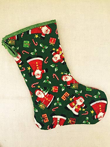 (Handmade Quilted Christmas Stocking, Santa Fabric, Decorative Stitching)