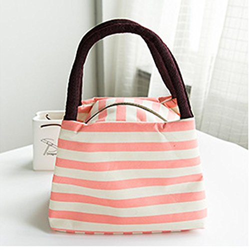 Iuhan Waterproof Portable Oxford Striped Lunch Bags Carry Tote Storage Box Case Picnic Bags - 1980 Men Fashion