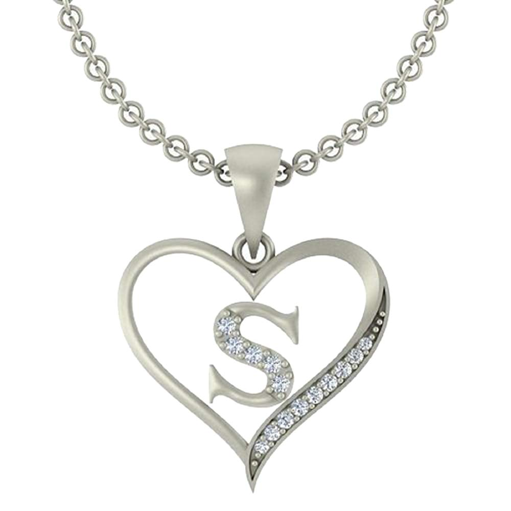 0.10 Ct Round Cut Simulated Diamond LetterS In Heart Pendant With 18 Chain 14K White Gold Plated