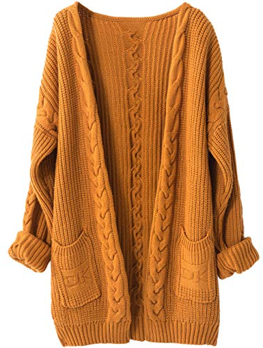 Liny Xin Women's Cashmere Loose Casual Long Sleeve Open Front Oversized Cardigan Sweater Wool Coat Sherpa Jacket with Pockets (XL, -