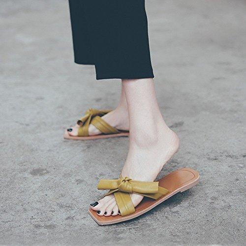 des de NSX Plates Femmes Chaussures Sandales Chaussures Pantoufles Paresseux Doux Plage D'Été Bow Loisirs Jaune Porter gAAavxO