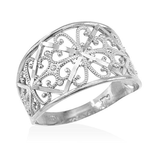 Fine 10k White Gold Milgrain Edge Four Leaf Clover Filigree Cocktail Ring (Size 9)