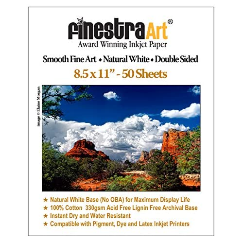 Hot 8.5x11 330gsm Smooth Fine Art Museum Natural White Double Sided 50 Sheets for sale