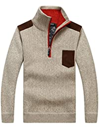 Casual Stand Collar Half Zipper Villus Pullover Knit Sweater
