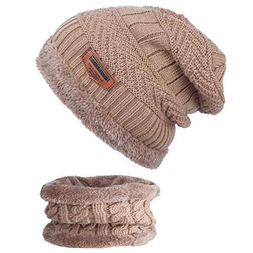 Cap Gruesa Snow Marrón Slouchy ANVEY Hat Knit Beanie Unisex Warm Invierno Bufanda Conjunto wnqT6BPqx