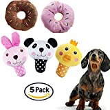 Image of HTKJ Squeaky Dog Toys for Small Medium Dogs, Variety Pack of 5 Puppy Dog Toys