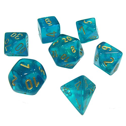 Chessex Dice: Polyhedral 7-Die Borealis Dice Set - Teal with Gold Numbers CHX-27486 ()
