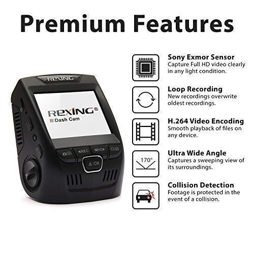 Rexing V1 Cam Dashboard Camera G-Sensor, WDR, Loop