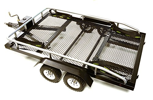 Axle Flatbed Trailer (Integy RC Model Hop-ups C27734BLACK Machined Alloy Flatbed Dual Axle Car Trailer (Toy) Kit for 1/10 Scale RC 640x370x110mm)