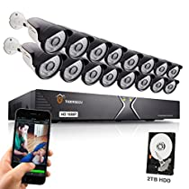 TIGERSECU Full HD 1080P 16-Channel Video Security Camera DVR System, 2TB Hard Drive - 16 2.0mp Outdoor Bullet Cameras, 65ft Night Vision