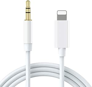 [Apple MFi Certified] Lightning to 3.5mm AUX Audio Stereo Cable, AUX Cord for iPhone Compatible with iPhone 11/11 Pro/XS/XR/X/8/7/iPad, iPod to Car Stereo, Speaker, Headphone, Support All iOS (White)
