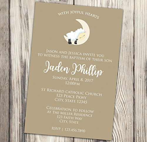 Little Lamb Baptism Invitation - Beige First Communion Invite - Naming Day - Christening - Confirmation - 4x6 -