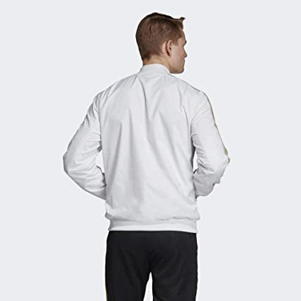 Amazon.com : adidas Real Madrid Anthem White Jacket 2019-20 ...
