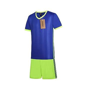 Lixada Camiseta de Futbol Conjunto de Uniformes Ropa de Deportes de Manga Corta Breathable Ball Jersey Football Sweat Camiseta: Amazon.es: Deportes y aire ...