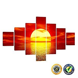 Creative Art- Large Size Sunset Canvas Prints Stretched Artwork - 7 Panels Red Sunset Seascape Group Painting Modern Canvas Wall Art for Living Room Wall Decor Ready to Hang by Creative Arts Inc