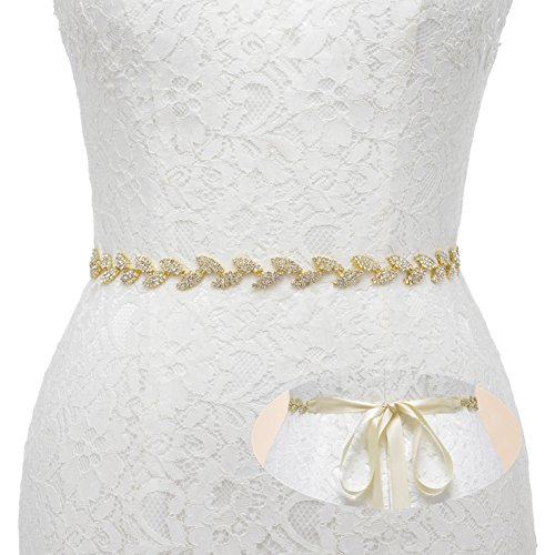 - SWEETV Rhinestone Leaf Bridal Belt Wedding Belt Crystal Headband Bridesmaid Sash for Dress & Gown, Gold