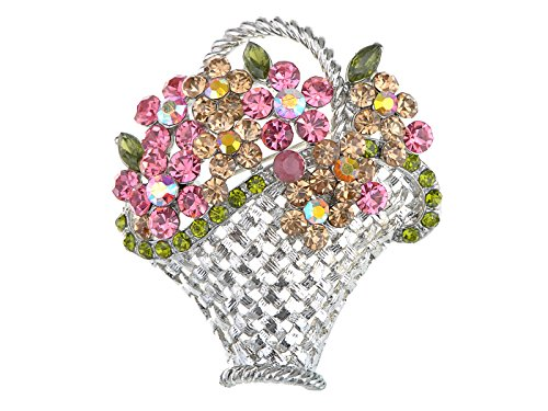 Alilang Vintage Inspired Silvery Tone Shine Pink Topaz Colorful Crystal Rhinestones Spring Floral Basket Brooch Pin