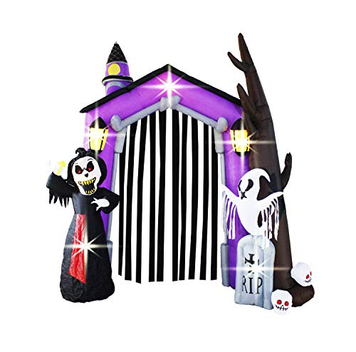 Bigjoys 9 Ft Halloween Inflatable Arch Archway Gate with Reaper Ghost Gravestone for Outdoor Home Garden