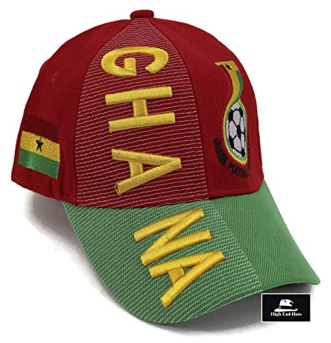 (High End Hats Nations Africa Hat Collection Embroidered Adjustable Baseball Cap, Ghana GFA Logo, Red)
