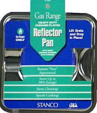 Stanco Gas Range Reflector Pan Universal Chrome Plated Steel, Porcelain