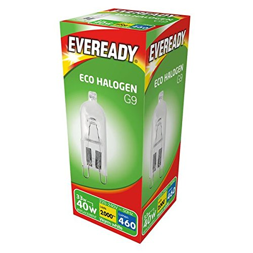 3 x 33w (40w) G9 Halogen Capsule Dimmable Clear Bulb (Eveready S10110)